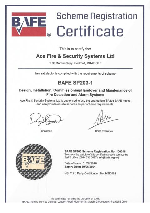 BAFE SP203-1 Certificate Thumbnail