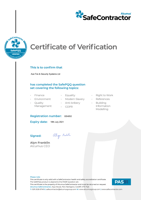 SafeContractor Certificate Thumbnail